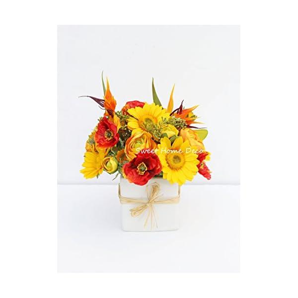 "Sweet Home Deco 12""T Silk Ranunculus Bird of Paradise Poppy Sunflower Mixed Floral Arrangement White Ceramic Cube Vase Wedding Home Decorations (Large)"