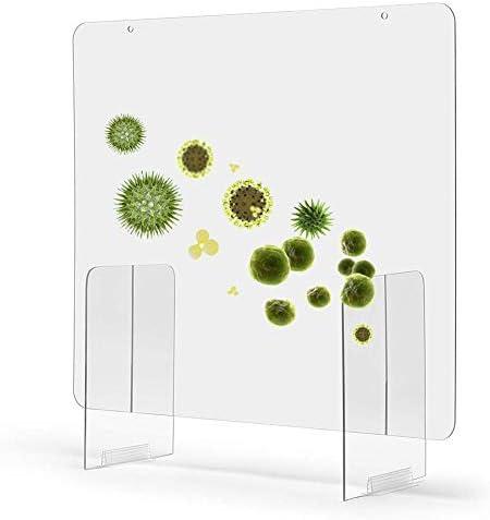 flouris Thekenaufsatz Schutzschild mit Durchreiche Hustenschutz Niesschutz Schreibtisch Schutzwand aus Plexiglas Tischaufsatz 40cmx40cm