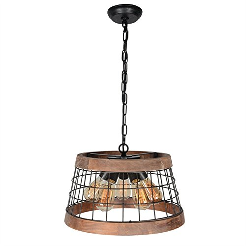 Baiwaiz Wood Farmhouse Pendant Light Fixture, Round Metal Cage Rustic Chandelier Island Lighting 5 Lights Edison E26 070