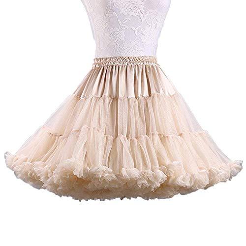 Ab.Mall Femmes Tutu Ballet Costume Jupe Luxueuse Douce Tulle Jupon Multi-Couches Kaki