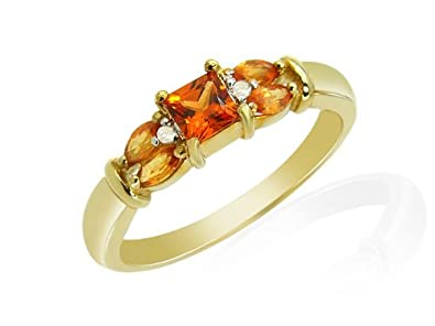 size N 9ct Yellow Gold on Silver Real Amber Ladies Ring