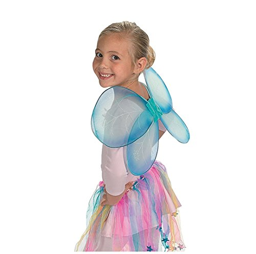 [Girls Blue Nylon Dragonfly Fairy Wings] (Kids Fly Costumes)