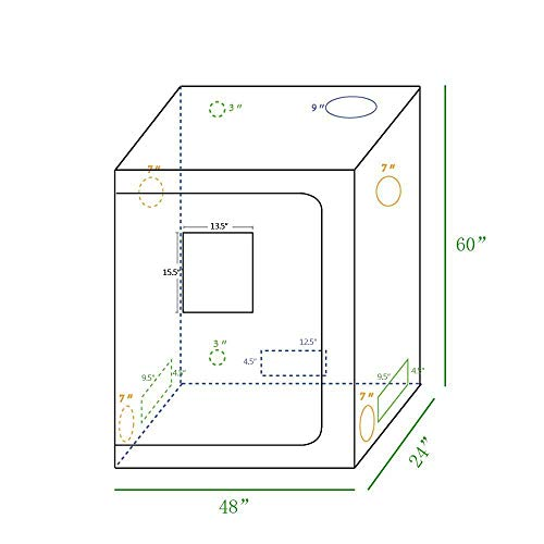 """New CoolGrows Grow Tent Room with Viewing Window For Indoor Plant Growing Dismountable Reflective Mylar Hydroponic System (48""""x24""""x60"""")  Hydroponic System 5"""