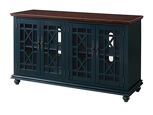 Martin Svensson Home Palisades TV Stand, 63″ W x 35″ H, Catalina Blue with Coffee Top