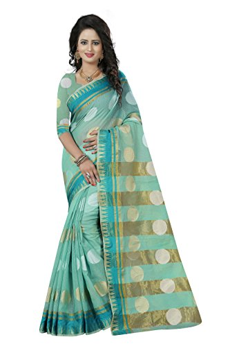 Women's Ethnic Wear Banarasi Net Sea Green Colour Saree With Blouse Piece - Sea Green Color Net