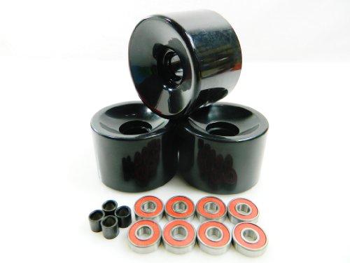 70mm Longboard Skateboard Wheels + ABEC 7 Bearings Spacers (Solid Black)