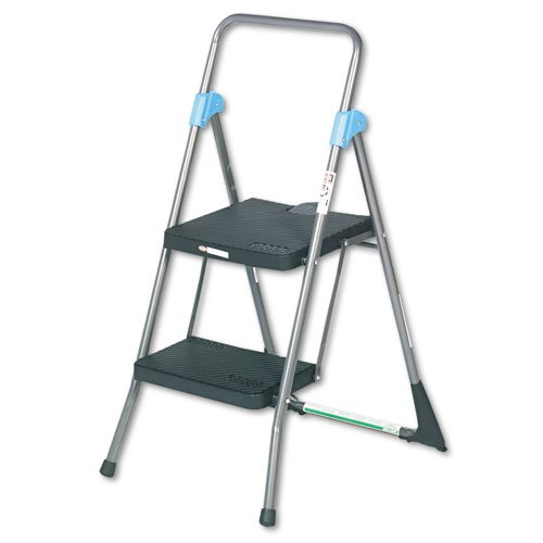 Commercial 2-Step Folding Step Stool, 300lb Duty, 20-1/2wx24-3/4dx39-1/2h, Gray