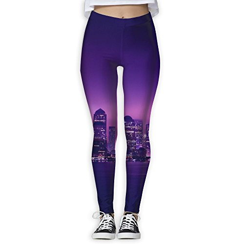City Night View Women's Full-Length Yoga Workout High Waist Active Running - Sydney Night Out Fashion