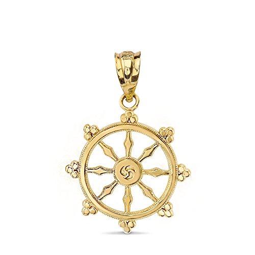 10k Gold Dharmachakra Wheel of the Dharma Buddhism Symbol -