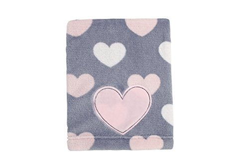 Little Love by NoJo Appliqued Coral Fleece Blanket, Hugs and Kisses ()