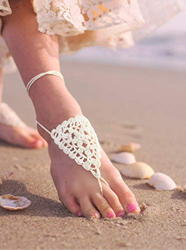 Girls Barefoot Sandals in WHITE, Beach wedding Foot Jewelry US size 11-2