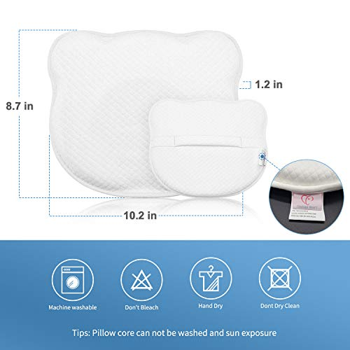Baby Pillow Newborn, Newborn Pillow Flat Head, Infant Sleeping Pillow, Soft Breathable Memory Foam Baby Head Shaping Pillow Prevent Infant Flat Head Symptom Head Support for Baby 0-12 Months