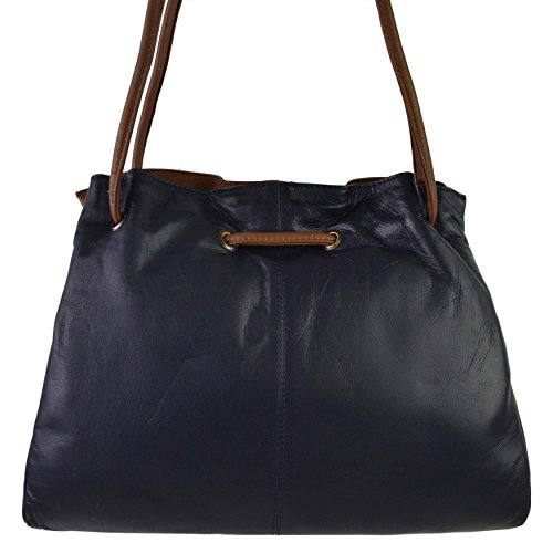 Collection Classic HANDBAG Shoulder Ladies GIGI brown Navy Stylish LEATHER OTHELLO Soft Mid 1xwYwZq6