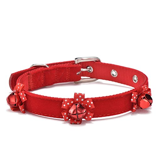 Soft Adjustable Nylon Pet Dog Collar Red with Bells for Small to Medium Dogs (Full Microfiber, (Christmas Dog Collar Collars)