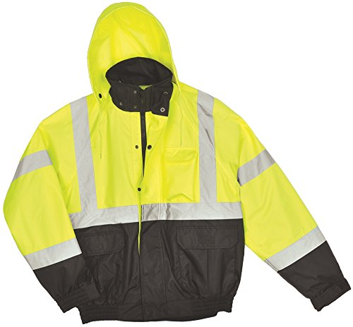 AW Direct AWJ56XL Men's Hi-Vis ANSI Class 3 Water-Repellent Bomber Jacket with Fleece Lining, Lime with Black Front, (Ansi Class 3 Coat)