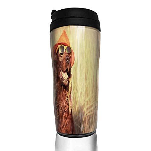 coffee cups with lids Animal,Funny Retro Irish Setter Dog Wearing Hat and Sunglasses Humorous Joyful Picture,Redbrown Tan 12 oz,coffee cup organizer for ()