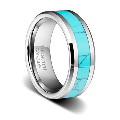 TUSEN JEWELRY 8MM Mens Birthstone Silver Tungsten Ring and Turquoise Inlay Beveled Edge Wedding Band