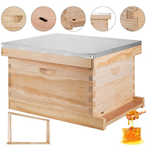 Happybuy Beehive Frames Wooden Beehive Frames Bulk Automatic Honey Beehive Box Kit Without 7 Standard Frames