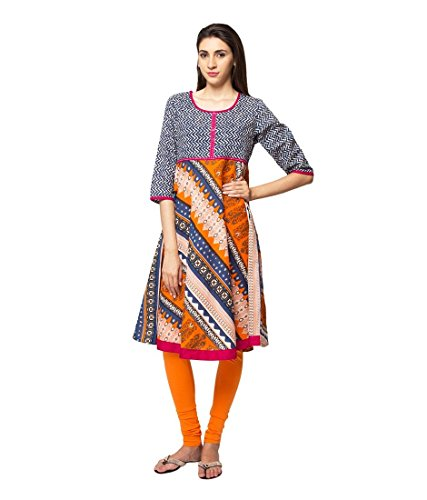 ethnicity Women's Indian Trendy Multi-Print Kurta Tunic; XL; Blue by In-Sattva