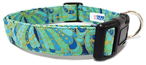 Adjustable Dog Collar in Teal Blue and Gold Paisley (U.S.A. ()