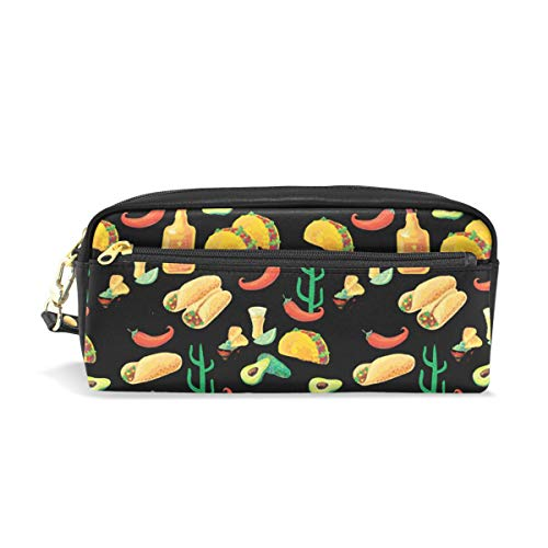Mexican Seamless Food PU Leather Cosmetic Bag Makeup Pouch Pen Pencil Case Coin Purse Travel