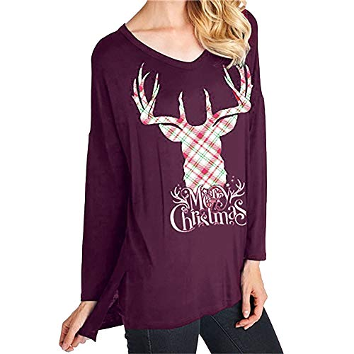 Xinantime V-Neck T-Shirts Loose Casual T-Shirt Letter Christmas Elk Head Print Tunic Tops Women Sweatshirts (3/4 Fur Coat Rabbit Genuine)