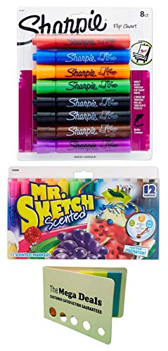 Sharpie Flip Chart Markers, Bullet Tip, Assorted Colors, 8-Count   Mr. Sketch Scented Markers, Chisel Tip, Assorted Colors, 12-Count   Includes 5 Color Flag Set…