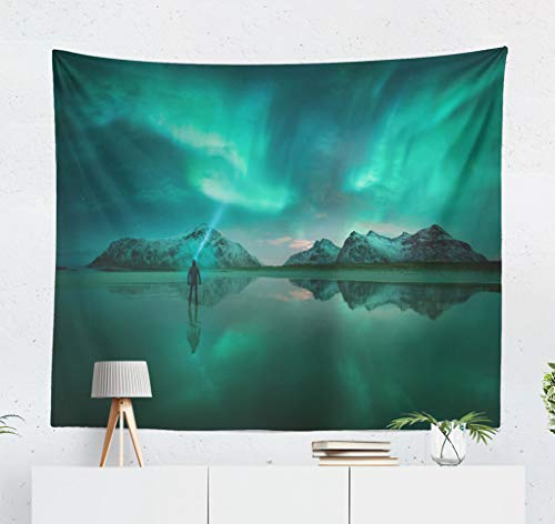threetothree Sea Star Beach Wall Tapestry, 60x50 Inches Decorative Wall Hanging Tapestry Northern Lights Beach Norway Light Northern Norway Man Arctic for Bedroom Living Room Tablecloth Dorm