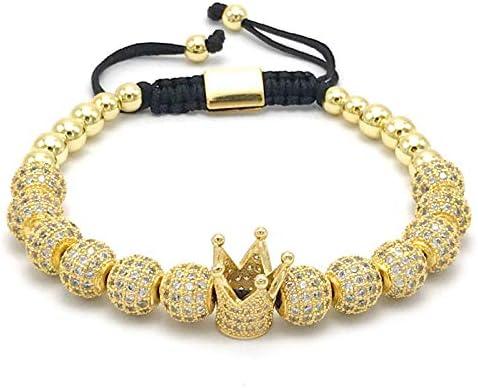 diseño de Moda para Mujer Pulseras de la Corona Imperial de Color Oro Micro Pave Mujeres Trenzado Macrame Pulsera joyería de los Hombres