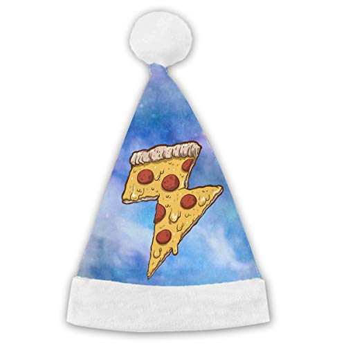 Holiday Christmas Halloween Santa Hat Cool Thunder Cheesy Pizza Festive Holiday Party Hat With White Cuffs For Kids