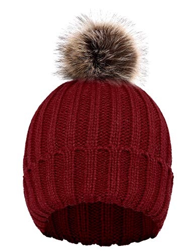 D Diana Dickson Cute Fluffy Fur Pompom Knit Winter Beanie Hat