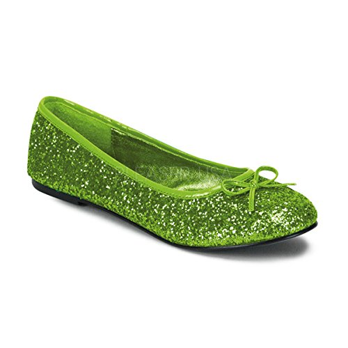 Funtasma STAR-16G womens Lime Green Glitter Flats Shoes Size - 8