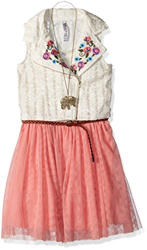 (Beautees Girls' Big 2 Piece Sleeveless Tulle Dress with Embroidered Moto Vest, Shell Pink 12)