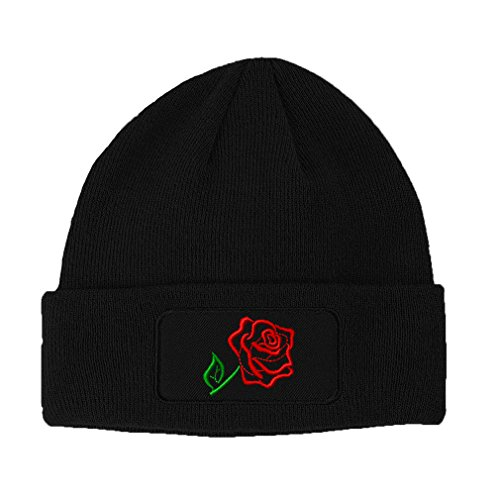 Red Rose Outline Embroidery Design Double Layer Acrylic Patch Beanie Black