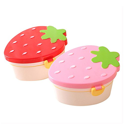 Price comparison product image JIANGTAOLANG Strawberry Lunch Box Kids Bento Box Cartoon Portable Picnic Plastic Student Food Tableware Red