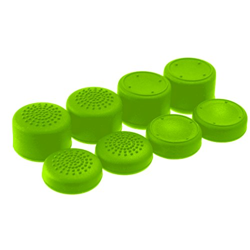 AceShot Thumb Grips (8pc) for Xbox One (One S & X) by Foamy Lizard ® Sweat Free 100% Silicone Precision Raised Antislip Rubber Analog Grips For Xbox One Controller (8 grips) GREEN (Control Freaks Xbox 360 Green)