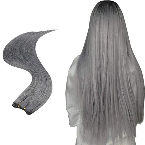 Easyouth Remy Sew in Hair 14inch Silver Color Hair Wefts Human Hair 50g Per Package Brazilian Hair Bundles Human Hair Weft