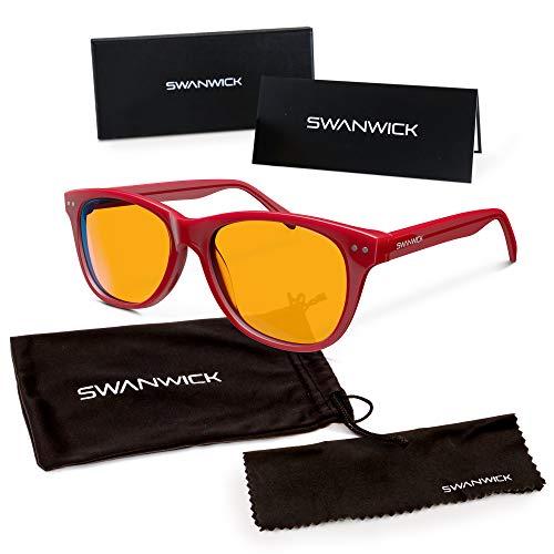 Blue Light Blocking Glasses for Kids – Swannies Gamer and Computer Eyewear for Children - Deep Sleep - Digital Eye Strain Prevention - FDA Registered Company - Swanwick Sleep (Red) Kids