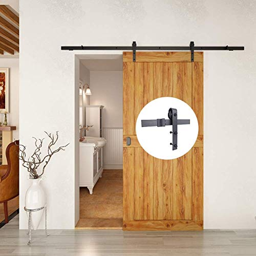 6.6FT Heavy Duty Sliding barn Door Hardware Track kit- Sturdy Flat Basic Shape Design -Smoothly and Quietly - Simple and Easy to Install (A01-200cm)