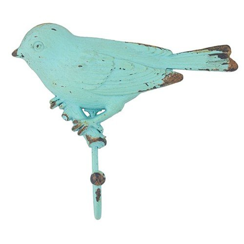 VINTAGE BIRD ON BRANCH HOOK TURQUOISE 5.875x5.375