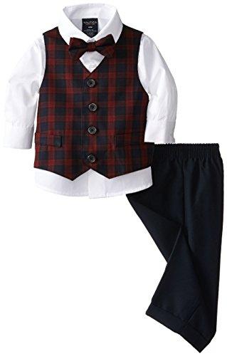 Nautica Boys' 4-Piece Formal Dresswear Vest Set with Bow Tie, Tartan Navy, 24 -