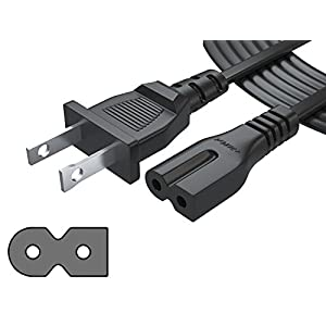 Pwr+ Polarized Extra Long 12 Ft 2 Prong Slot Ac Power Cord - [UL Listed] Arris Router Modem Vizio Sharp Sanyo Emerson TV Sony PlayStation 1 2 PS1 PS2 Bose Companion 3 5 Speaker Solo 15 II TV Sound Bar