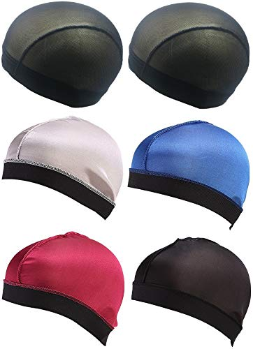 Babalet Boo Boo Stocking Wave Cap, Durag Wire Elatic Band Mesh Dome Wig Caps,Group 7(6pcs)