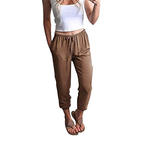 JOFOW Women's Trousers,Casual Solid Drawstring Elastic Band Tie Loose High Waist Tunic Ninth Pencil Pant for Women (Leather Trimmed Silk Pants)