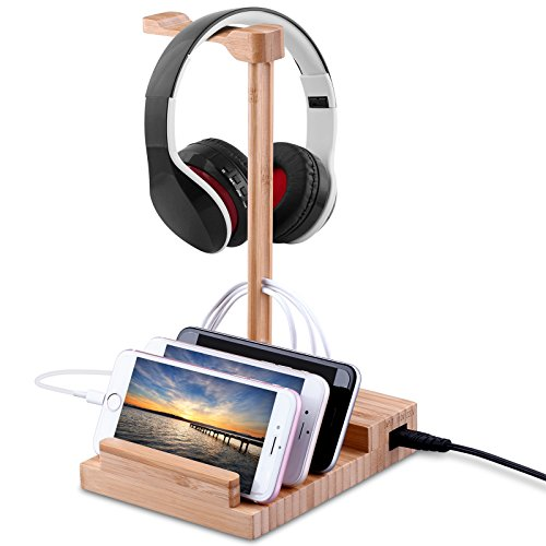 Wooden Headphone Stand, HOCOSY Bamboo Headephone and Phone Pad Stand With 5V 3A Smart USB charging Port, headphone stand