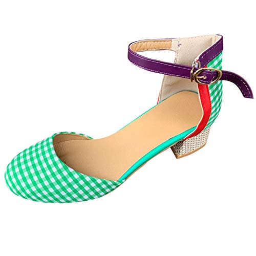 - NEARTIMEWomen's Sandals-Summer Ladies Fashion Mixed Colors Wave Point with Buckle Strap Shoes High Heel Sandals