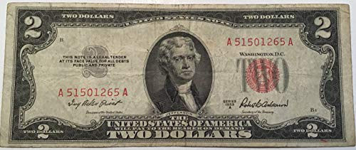 1953 A Series Red Seal $2 Two Dollar US Note