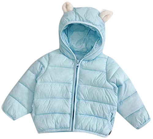 Wofupowga Boy Quilted Zipper Hoody Loose Down Pocket Jacket Parka Coat Wathet 5T by Wofupowga
