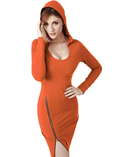 Elbon Boutique Womens Fitted Dress with Sexy Side Zipper Point ORANGE L