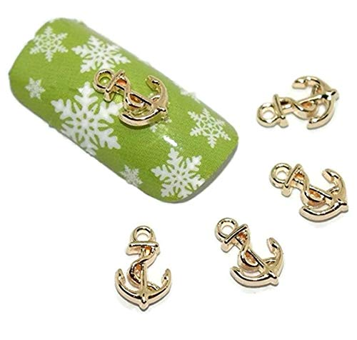 (Charm 3D Gold Anchor Nail Art Decor Phone Scrapbooking Decorations DIY )